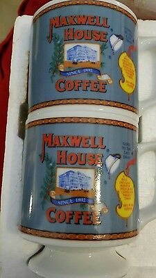 "Vintage 2 Maxwell House Coffee Cups Mugs ""Good To The Last Drop"" Japan Orig. Pkg"