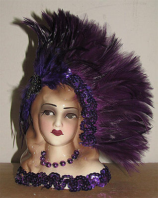 "Unique Creations Small  9' Art Deco Lady Doll Bust Head Vase "" Dedra """