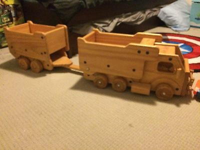 wooden toy truck and trailer