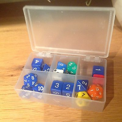 Mixed Lot of Vintage AD&D DICES in Little Plastic Box VGC
