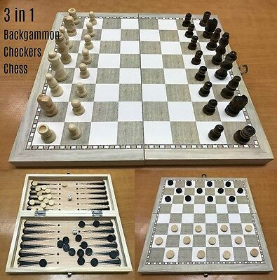 3 in 1 Folding Wooden Wood Chess Set Board Game Checkers Backgammon