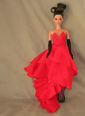 New Silkstone Barbie Ht Layered Red Chiffon Fashion Gown Faux Leather Boots
