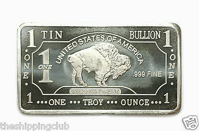 1 x TIN BUFFALO BAR 1 Troy oz Ounce .999 Fine Collector Metal Bullion Art Ingot