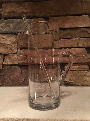 Vintage Barware Clear Glass Martini Cocktail Pitcher With Handle Glass Stirrer