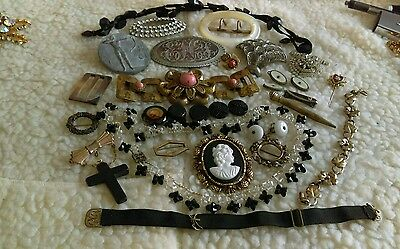 Victorian Jewelry Lot Buckles Brooches Clips Buttons Glass Rhinestones Morr