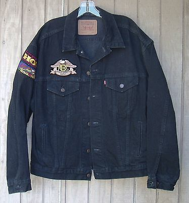 Levi's Black Denim Harley Davidson Jacket (L) with Colorful Embroidered Patches!
