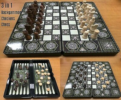 3 in 1 Folding Chess Set Board Game Checkers Backgammon Xmas Gift