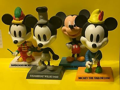 Disney Treasures STEAMBOAT WILLIE Mickey Mouse Bobble Head Lot of 4 Upper Deck