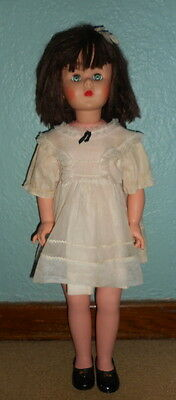 "Vintage 31"" Play Pal Type LITTLE GIRL Doll Unmarked Brunette Hair Dress SHOES"