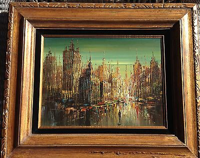"""Vintage Impressionist Cityscape Painting Signed 21"""" X 25"""""""
