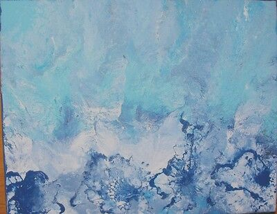 Modern abstract painting blue white framed Wall Decor Contemporary  acrylic Art