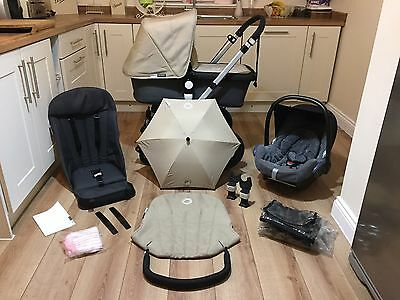 Beautiful Bugaboo Cameleon 2 Pram Travel System Grey & Sand + Maxi Cosi Car seat