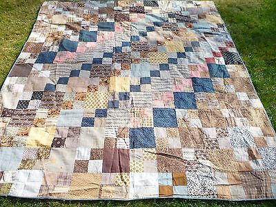 ****Early Madder Shirting Calico Antique  Quilt Top ****