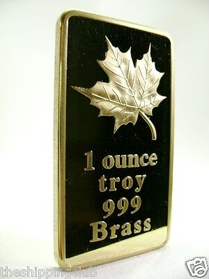 1 x BRASS MAPLE LEAF BAR 1oz Ounce .999 Fine Art Ingot Mint Bullion