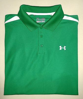 Men's UNDER ARMOUR HeatGear® Loose Green and White POLO Golf Shirt XL