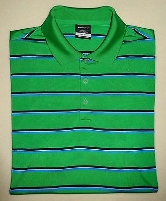 Men's NIKE GOLF DRI-FIT Green Striped POLO Golf Shirt Large L