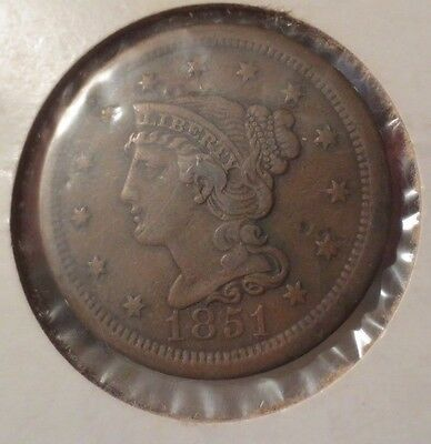 1851 Braided Hair Large Cent Penny Coin FULL LIBERTY Wonderful Detail
