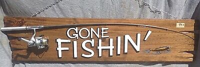 Gone Fishing Sign, Fishing Sign, Timber Sign, Male Gift