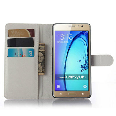 Leather Magnet Card Wallet Stand Flip Case Cover For SAMSUNG GALAXY On5 White