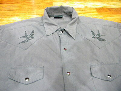Mens Vintage Steady Clothing Short Sleeve Western W/ Embroidery Size M