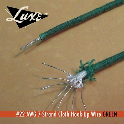 """LUXE RADIO GREEN 22 AWG 7 STRAND TINNED COPPER CLOTH COVERED WIRE - 12"""" 30.48Cms"""