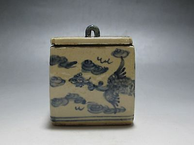China Blue and white Porcelain Tea caddy pot jar Draw Phoenix cloud Have mark