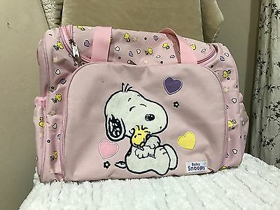 Baby Snoopy Girls Diaper Bag Duffle Style Pink *RARE* NWOT