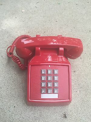 Cortelco Retro Red Push Button Desk Telephone Vintage Style Corded Phone