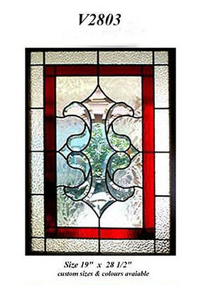 """Beautiful Stain glass window   19 """" w x 28 1/2 Bevel Cluster Red highlights  WoW"""