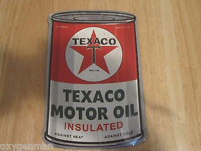 "TEXACO T Motor Oil Can Shaped 3-D Metal Embossed Gas Service Station 8"" Sign"