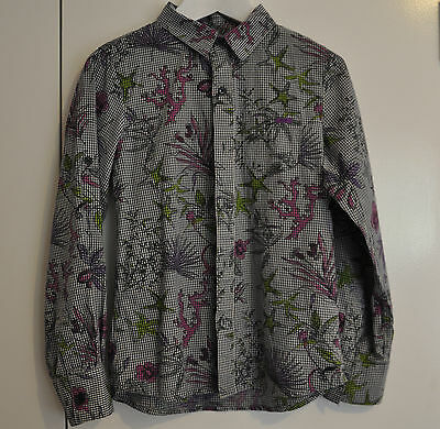 IKKS boys girls shirt button front size 8A 126 fine gingham & floral