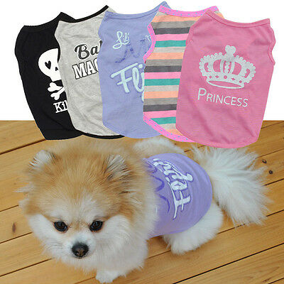 Small Dog Cat Summer Clothes Puppy Vest T-Shirt Coat Pet Apparel Costumes XS-L