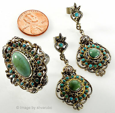 Antique Victorian Austro Hungarian Turquoise Sterling Earrins, Ring Set