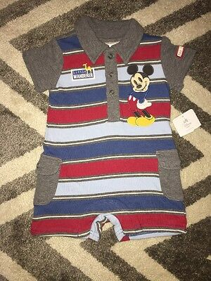 NWT Disney Mickey Mouse Baby Short Sleeve Outfit Gray, Red & Blue Sz/9-12