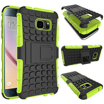 Armor Shockproof Rubber Rugged Stand Case Cover For Samsung Galaxy J7 J700 Green