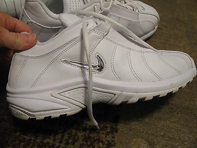 NIKE, MEN'S White/Metallic Silver Leather Lace Up Athletic Shoes, Size 10.5