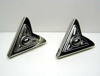 Vintage Faux Hematite Black To Steel Gray Stone Collar Tips U.s.a. Patent