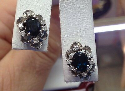 Antique Saphire Diamond Earrings Vintage