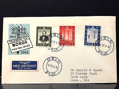 Norway  FDC1954 Airmail to U.S.