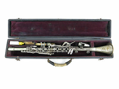 Vintage AULT STUDENT MUSIC CO. Silver Plated Brass Clarinet W/ Case & Mouthpiece
