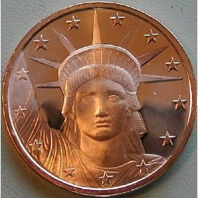 1 AVDP oz Statue of Liberty Copper Round .999 uncirculated coin.