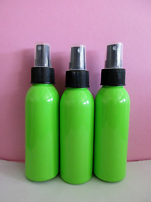 Bulk 10 Lime Green PET Plastic Cosmetic Bottles 125ml Black Sprays FREE POST