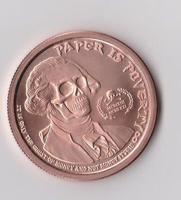 1 oz Ghost Money Deluminati copper round. Uncirculated coin .999