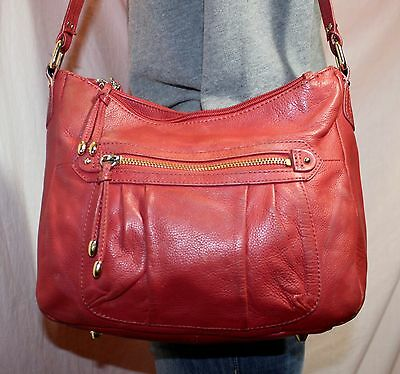 STONE MOUNTAIN Red Medium Leather Shoulder Hobo Tote Slouch Purse Bag