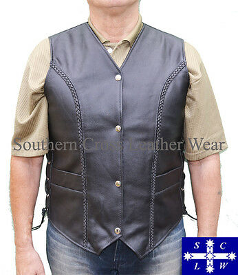 Men's Motorcycle Leather Braided Vest in Black