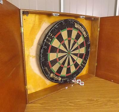 Winmau Dart Board With Cabinet and Darts Wooden Case Man Cave Bar