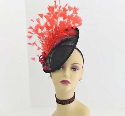 Kentucky Derby Wedding Sinamay feather Fascinator Cocktail 617 (Black/Red)