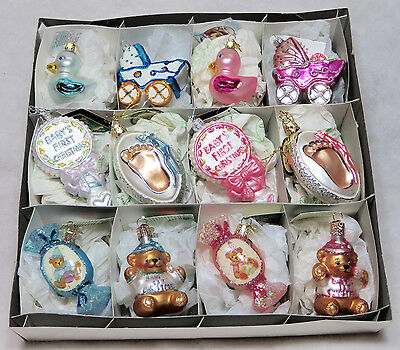 Lot of 12 OLD WORLD CHRISTMAS Ornaments Glass Germany Babys First Boy/Girl OWC