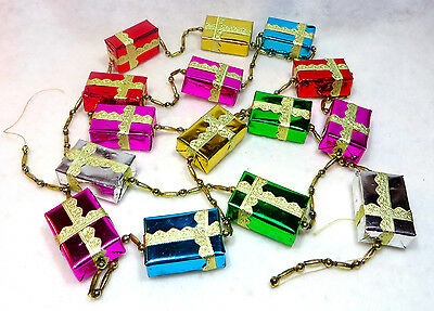 Very Vintage Wraped Packages And Mercury Glass Bead Christmas Tree Garland