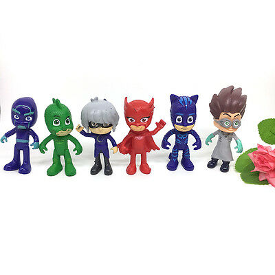 Cute Pj Masks Characters Catboy Owlette Gekko Cloak Action Figure Toys 6Pcs Kit